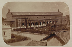 General view of the Government Normal School, Varanasi (Benares), with pupil-teachers leaving the school to go to their barracks